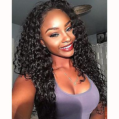 Cabelo Humano Frente de Malha Peruca estilo Cabelo Brasileiro Kinky Curly Peruca 130% Densidade do Cabelo 100% Virgem Mulheres Médio Perucas de Cabelo Natural / Crespo Cacheado