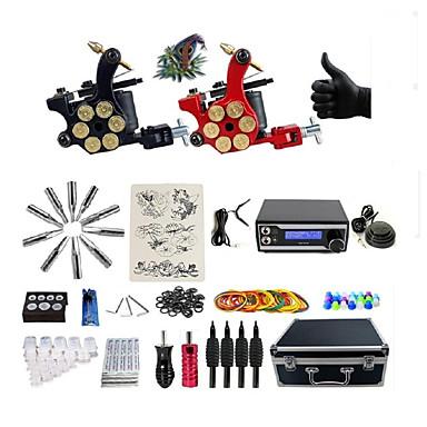 BaseKey Επαγγελματικό τατουάζ κιτ Μηχανή τατουάζ - 2 pcs Μηχανήματα τατουάζ, Επαγγελματικό Τροφοδοσία LED 2 x περιστροφικό μηχάνημα τατουάζ για γραμμές και σκίαση / Περιέχεται θήκη