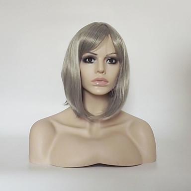 Συνθετικές Περούκες Ίσιο Κατσαρά Ίσια Κατσαρά Ίσια Ασύμμετρο κούρεμα Με αφέλειες Περούκα Κοντό Μεσαίο Γκρι Συνθετικά μαλλιά Γυναικεία Φυσική γραμμή των μαλλιών Ασημί Γκρι