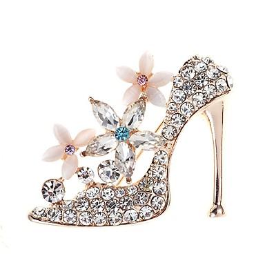 levne Dámské šperky-Dámské Brože Vysoký podpatek Jednoduchý Elegantní Křišťál Brož Šperky Zlatá Pro Denní