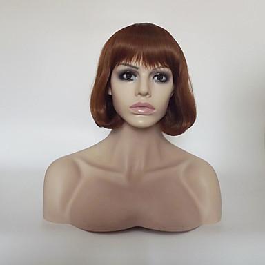 Συνθετικές Περούκες Ίσιο Κατσαρά Ίσια Κατσαρά Ίσια Κούρεμα καρέ Με αφέλειες Περούκα Κοντό Μεσαίο Μεσαία Auburn Συνθετικά μαλλιά Γυναικεία Φυσική γραμμή των μαλλιών Καφέ