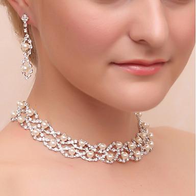 Women's Rhinestone Imitation Pearl Imitation Diamond Jewelry Set 1 Necklace Earrings - Classic Geometric Silver Drop Earrings Necklace