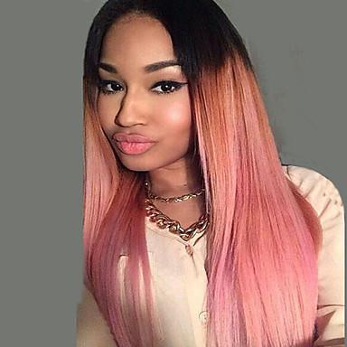 Συνθετικές Περούκες Ίσιο Ίσια Περούκα Ροζ Μακρύ Ροζ Συνθετικά μαλλιά Γυναικεία Στη μέση Ροζ