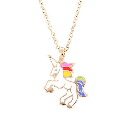 Γυναικεία Κρεμαστά Κολιέ Unicorn Ζώο κυρίες Βίντατζ Κομψό Κράμα Ροζ Μπλε Απαλό Σκούρο πράσινο Κολιέ Κοσμήματα Για Καθημερινά Causal