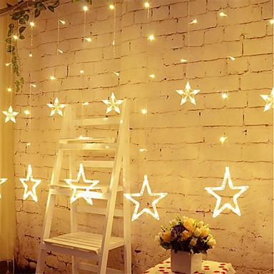 preiswerte LED-Lichter-Sternvorhang leuchtet 8 Modi mit 12 Sternen 138 LEDs wasserdicht verknüpfbarer Vorhang Lichterkette Lichterkette