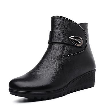 8e0a21d89f882 Mujer Zapatos Cuero Invierno Botas de Moda Forro de pelusa Botas Plataforma  Dedo redondo Mitad de Gemelo para Casual Negro Marrón 6413709 2019 –  26.99