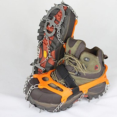 cheap Camping Tools, Carabiners & Ropes-Traction Cleats Crampons Outdoor Non-Slip Stainless Steel Metal Alloy Rubber Climbing Outdoor Exercise Orange