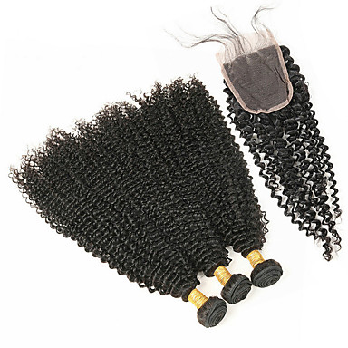 povoljno Ekstenzije od ljudske kose-4 paketića Brazilska kosa Duboko Val Remy kosa Ljudske kose plete Isprepliće ljudske kose Proširenja ljudske kose