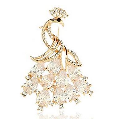 Γυναικεία Κρυστάλλινο Καρφίτσες Ζώο Παγόνι κυρίες Κλασσικό Μοντέρνα Κρύσταλλο Καρφίτσα Κοσμήματα Χρυσό Για Καθημερινά Επίσημο