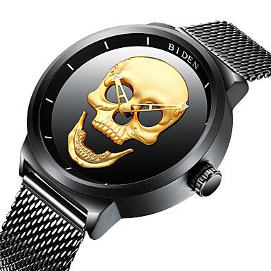 levne Pánské-BIDEN Pánské Náramkové hodinky Křemenný Nerez Černá 30 m Voděodolné Cool Czaszka Analogové Vintage Na běžné nošení Módní Cool - Zlatá Černá