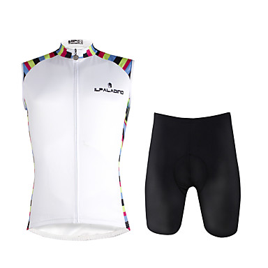 a1172eafc ILPALADINO Men s Sleeveless Cycling Jersey with Shorts - White Bike Vest   Gilet  Padded Shorts   Chamois Clothing Suit 3D Pad Quick Dry Sports Lycra Solid  ...