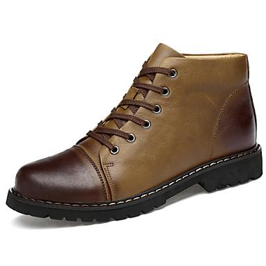 Hombre Zapatos Cuero de Napa / Cuero Otoño / Invierno Confort / Botas de Combate Botas Mitad de Gemelo Marrón wJ9mqEXl