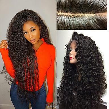 Φυσικά μαλλιά Δαντέλα Μπροστά Χωρίς Κόλλα Δαντέλα Μπροστά Περούκα Κούρεμα καρέ Κούρεμα με φιλάρισμα Με αφέλειες στυλ Βραζιλιάνικη Kinky Curly Περούκα 130% Πυκνότητα μαλλιών / Αμεταποίητος