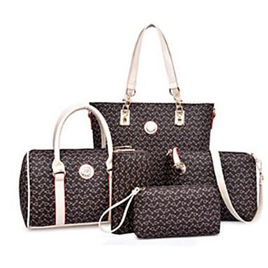 voordelige Tassensets-Dames Patroon / Print PU zak Set Bag Sets 5 stuks Purse Set Hemelsblauw / Paars / Blozend Roze