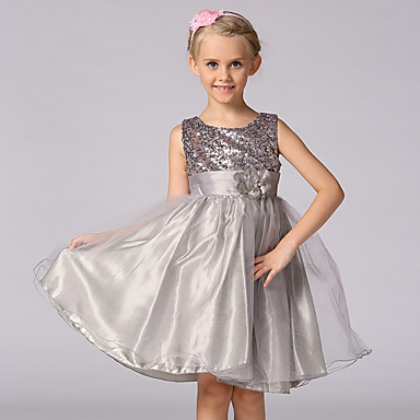 cheap Baby & Kids-Kids Girls' Sweet Princess Party Floral Solid Colored Sequins Layered Sleeveless Dress White