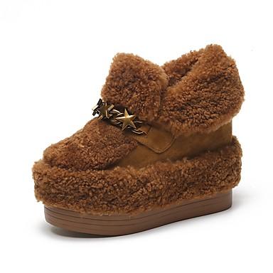 Mujer Zapatos Ante / Cuero Otoño / Invierno Forro de piel Zapatillas y flip-flops Tacón Plano Dedo redondo / Punta cerrada Marrón / Gris YdeR0O74