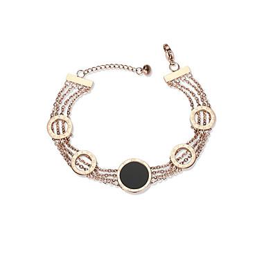 Mulheres Pulseiras em Correntes e Ligações senhoras Europeu Fashion Aço Liga Pulseira de jóias Ouro Rose Para Diário Encontro
