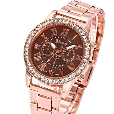 levne Pánské-Pánské Dámské dámy Náramkové hodinky Diamond Watch Křemenný Kov Černá / Bílá / Růžová Hodinky na běžné nošení Analogové Luxus Na běžné nošení - Kávová Růžová Světle zelená Jeden rok Životnost baterie