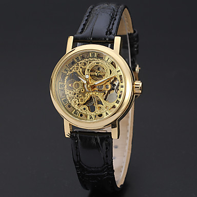 cheap Mechanical Watches-WINNER Women's Skeleton Watch Wrist Watch Gold Watch Mechanical manual-winding Leather Black 30 m Hollow Engraving Analog Ladies Luxury Casual Elegant Vintage - Gold Silver / Stainless Steel
