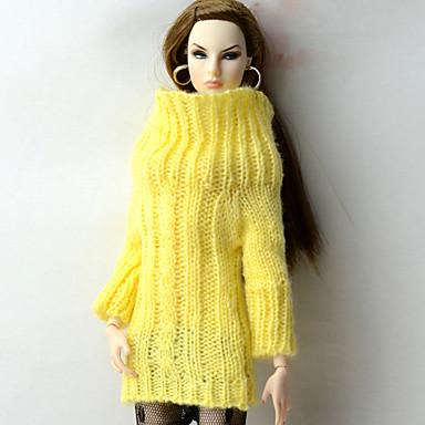 levne Doplňky pro panenky-Doll Top Topy Pro Barbie Žlutá Vlněná tkanina Umělá vlna Vrchní deska Pro Dívka je Doll Toy