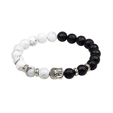 voordelige Herensieraden-Heren Onyx Vulkanische steen Kralenarmband Aziatisch Klassiek Agaat Armband sieraden Wit / Zwart / Bruin Voor Avond Feest Uitgaan / Natuursteen