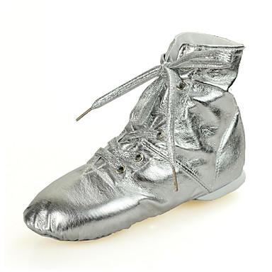 preiswerte Jazztanzschuhe-Damen Tanzschuhe Kunstleder Jazztanzschuhe Sneaker / Volle Sole Flacher Absatz Gold / Silber