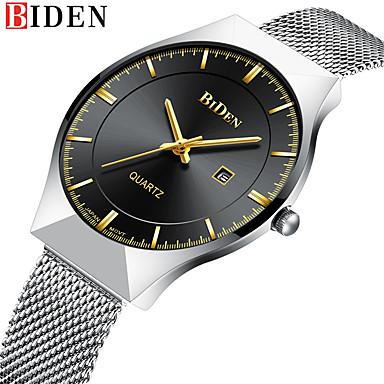 levne Pánské-BIDEN Pánské Náramkové hodinky Křemenný Nerez Stříbro 30 m Voděodolné Kalendář Analogové Luxus Vintage Na běžné nošení Módní Watchmetal Watch - Černá Modrá