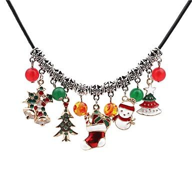 povoljno Modne ogrlice-Žene Onyx Ogrlice s privjeskom Božićno drvce Klasik zdepast Koža Legura Pink Ogrlice Jewelry Za Božić Dnevno