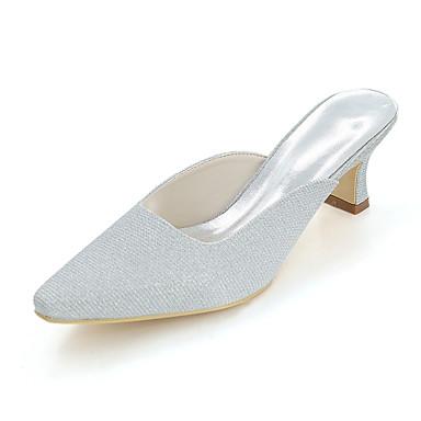 Mujer Zapatos Purpurina Primavera / Verano Pump Básico Zapatos de boda Talón de bloque Dedo cuadrada Plata / Rojo / Azul / Boda 1p4F4