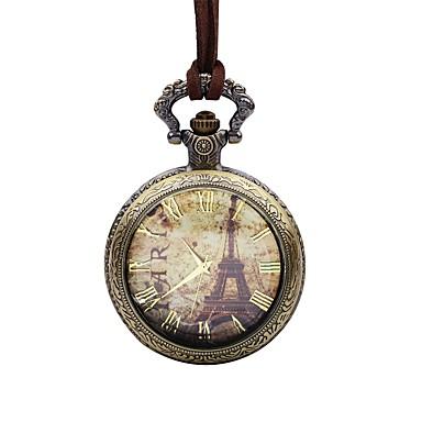levne Pánské-Pánské Kapesní hodinky Křemenný Kůže Hnědá Velký ciferník Analogové Eiffelova věž Elegantní - Bronzová Jeden rok Životnost baterie