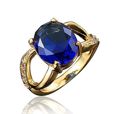 Γυναικεία Band Ring Cubic Zirconia High Crystal 1 Λευκό Κόκκινο Βαθυγάλαζο Ζιρκονίτης Επιχρυσωμένο Circle Shape Geometric Shape Κλασσικό Βίντατζ Ευρωπαϊκό Γάμου Πάρτι Κοσμήματα Πριγκίπισσα