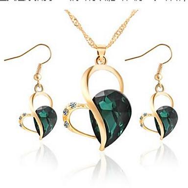 Γυναικεία Κρυστάλλινο Κρεμαστά Σκουλαρίκια Κρεμαστό Καρδιά Κλασσικό Μοντέρνα Κρύσταλλο Προσομειωμένο διαμάντι Σκουλαρίκια Κοσμήματα Πράσινο / Μπλε Για Καθημερινά