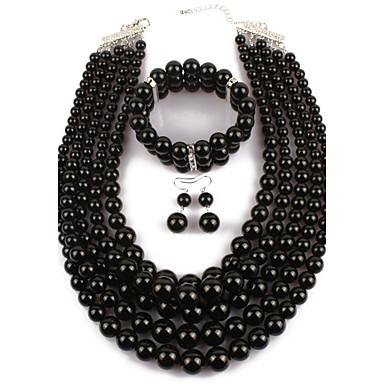 preiswerte Perlen Schmuck Sets-Damen Perlen Schmuckset Erklärung damas afrikanisch Künstliche Perle Ohrringe Schmuck Schwarz Für Normal Party / Halsketten