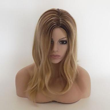 Συνθετικές Περούκες Κυματιστό Κατσαρά Ίσια Κατσαρά Ίσια Ασύμμετρο κούρεμα Περούκα Ξανθό Κοντό Μεσαίο Medium Blonde Συνθετικά μαλλιά Γυναικεία Μαλλιά με ανταύγειες Φυσική γραμμή των μαλλιών Στη μέση