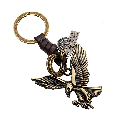 cheap Keychains-Eagle Keychain Gold Leather Alloy For Cute