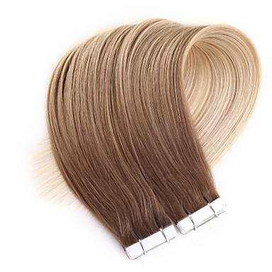 levne Příčesky z pravých vlasů-Neitsi Lepící Rozšíření lidský vlas Volný Přírodní vlasy Rozšíření vlasové útkové vlasy 24 inch Blonďatá Tónované 20pcs Vícebarevný Dámské Béžová Blonde / Bleached Blonde / 8A