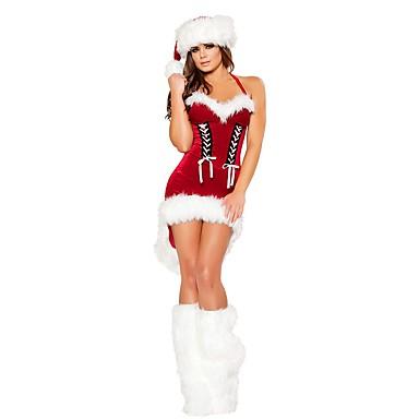 Άγιος Βασίλης Κ. Claus Στολές Γυναικεία Χριστούγεννα Γιορτές / Διακοπές Πολυεστέρας Κόκκινο Αποκριάτικα Κοστούμια Μονόχρωμο Χριστούγεννα