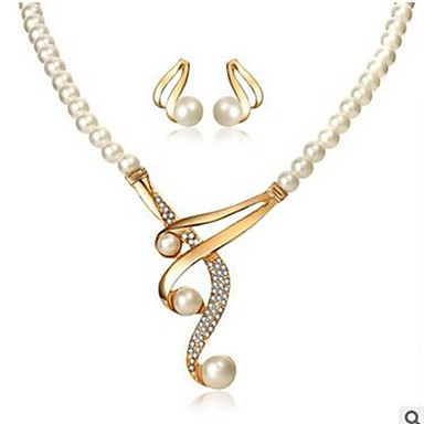 Γυναικεία Κρεμαστά Σκουλαρίκια Κρεμαστό κυρίες Κλασσικό Μοντέρνα Απομίμηση Μαργαριταριού Προσομειωμένο διαμάντι Σκουλαρίκια Κοσμήματα Χρυσό Για Καθημερινά
