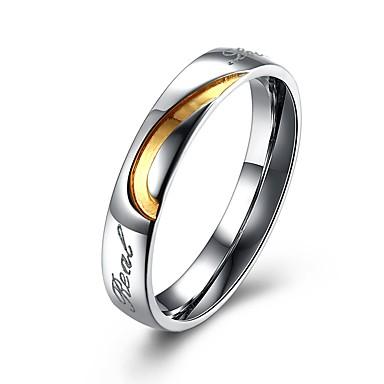 Ανδρικά Δαχτυλίδια Ζευγαριού Δαχτυλίδια Groove 2 Λευκό Τιτάνιο Ατσάλι Επιχρυσωμένο Circle Shape Μοντέρνα Δώρο Κοσμήματα