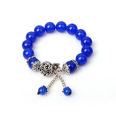 Γυναικεία Συνθετικό ζαφείρι Βραχιόλι με χάντρες Ασιατικό Αχάτης Βραχιόλι Κοσμήματα Μπλε Για Δώρο Σχολείο