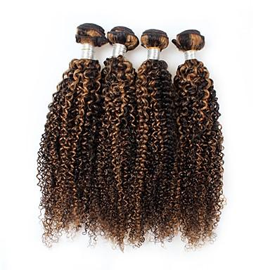 povoljno Ekstenzije od ljudske kose-4 paketića Peruanska kosa Kovrčav Ljudska kosa Ombre Isprepliće ljudske kose Proširenja ljudske kose