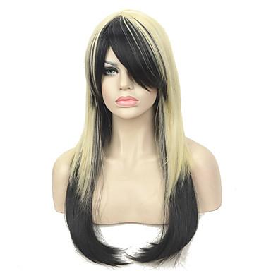 Συνθετικές Περούκες Ίσιο Ίσια Με αφέλειες Περούκα Μακρύ Μαύρο / Ξανθό Συνθετικά μαλλιά Γυναικεία Μαύρο StrongBeauty
