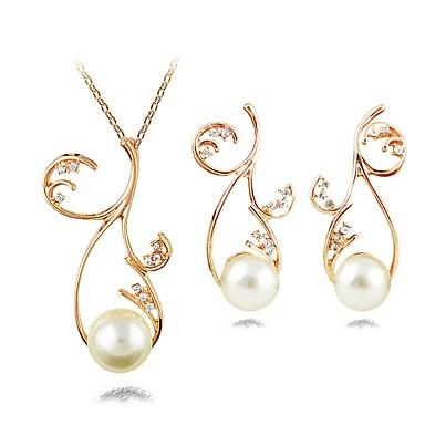 Γυναικεία Κρεμαστά Σκουλαρίκια Κρεμαστά Κολιέ κυρίες Κλασσικό Μοντέρνα Απομίμηση Μαργαριταριού Προσομειωμένο διαμάντι Σκουλαρίκια Κοσμήματα Χρυσό Για Επίσημο