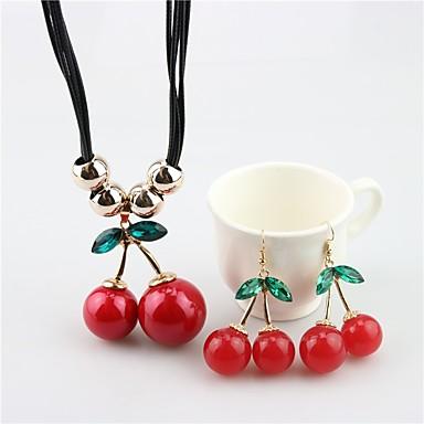 voordelige Dames Sieraden-Dames Druppel oorbellen Hangertjes ketting Kersen Fruit Dames Zoet Parel oorbellen Sieraden Rood Voor Dagelijks / Oorbellen