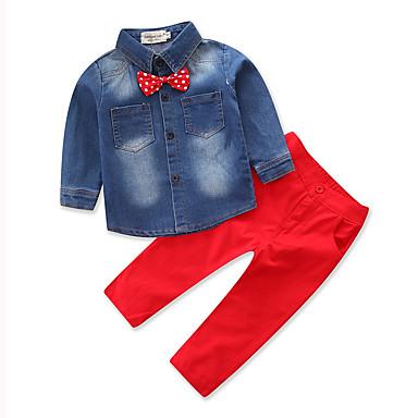 povoljno Odjeća za dječake-Djeca Dječaci Mašna Svečana odjeća Party Dnevno Formalan Print Dugih rukava Regularna Normalne dužine Pamuk Komplet odjeće Red