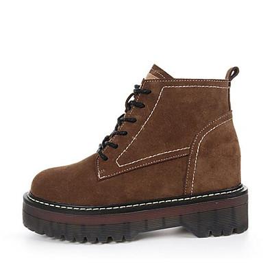 Hombre Zapatos Cuero de Napa / Cuero Primavera / Otoño Confort / Botas de Combate Botas Botines / Hasta el Tobillo Negro / Caqui Wl4zMAgd