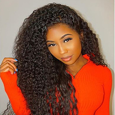 Human Hair Glueless Lace Front / Lace Front Wig Brazilian Hair Kinky Curly Wig Bob Haircut / Layered Haircut / Baby Hair 130% Natural Hairline / 100% Virgin / Unprocessed Women's Medium Length
