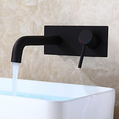 Μοντέρνο/Σύγχρονο Επιτοίχιες Κεραμική Βαλβίδα Ενιαία Χειριστείτε μια τρύπα Μαύρο, Μπάνιο βρύση νεροχύτη