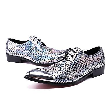 Hombre Zapatos Cuero Otoño / Invierno Innovador / Zapatos formales Oxfords Plateado / Purpurina / Boda / Fiesta y Noche 0CS8dMNa0