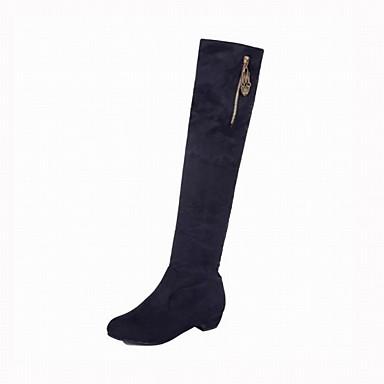 Mujer Zapatos Aterciopelado Invierno Botas de Moda Botas Dedo redondo Sobre la Rodilla Negro / Marrón agréable RC75KHMTY